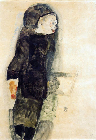Egon Schiele Child in Black - Hand Painted Oil Painting