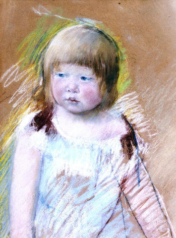 Mary Cassatt Child with Bangs in a Blue Dress - Hand Painted Oil Painting