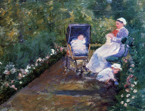 Mary Cassatt Children in a Garden - Hand Painted Oil Painting