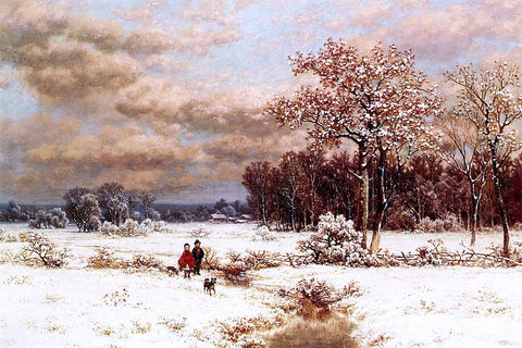 William Mason Brown Children in a Snowy Landscape - Hand Painted Oil Painting