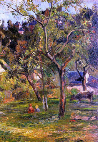 Paul Gauguin Children in the Pasture (also known as Orchard below Bihorel Church) - Hand Painted Oil Painting