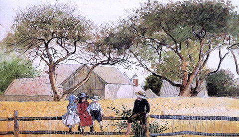 Winslow Homer Children on a Fence - Hand Painted Oil Painting