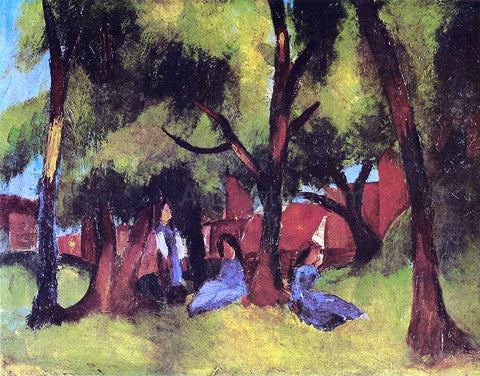 August Macke Children under Trees in Sun - Hand Painted Oil Painting