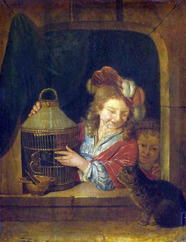Eglon Van der Neer Children with a Cage and a Cat - Hand Painted Oil Painting