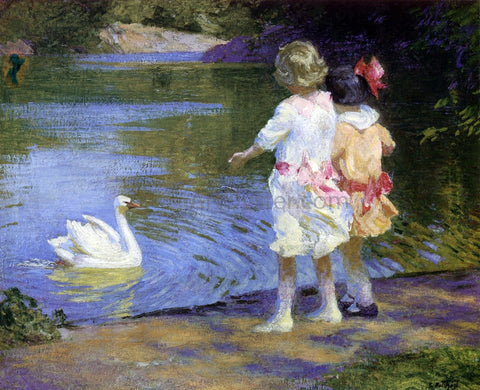 Edward Potthast Children with a Swan - Hand Painted Oil Painting
