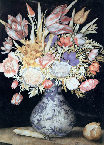 Giovanna Garzoni Chinese Vase with Flowers, a Fig, and a Bean - Hand Painted Oil Painting