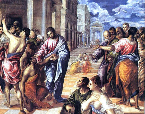 El Greco Christ Healing the Blind - Hand Painted Oil Painting