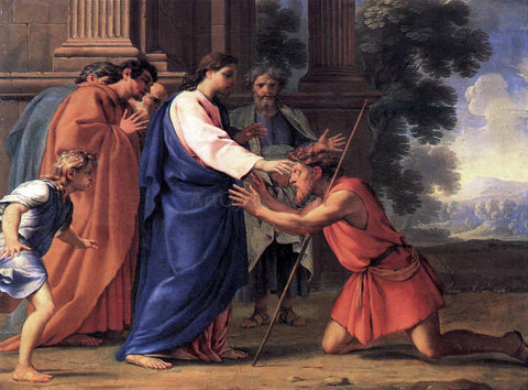 Eustache Le Sueur Christ Healing the Blind Man - Hand Painted Oil Painting