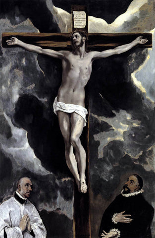 El Greco Christ on the Cross Adored by Two Donors - Hand Painted Oil Painting