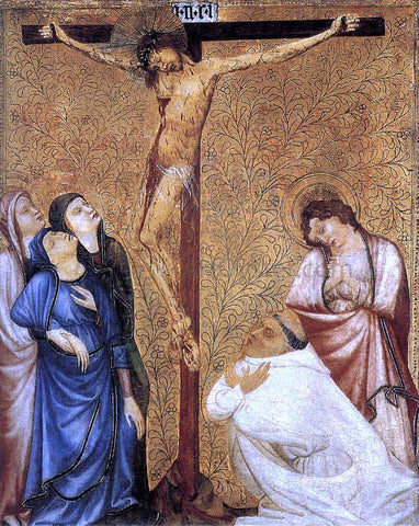 Jean De beaumetz Christ on the Cross with a Praying Carthusian Monk - Hand Painted Oil Painting