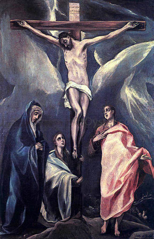 El Greco Christ on the Cross with the Two Maries and St John - Hand Painted Oil Painting