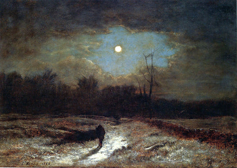 George Inness Christmas Eve (also known as Winter Moonlight) - Hand Painted Oil Painting