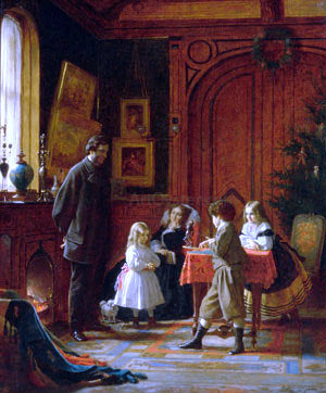 Eastman Johnson Christmas-Time, The Blodgett Family - Hand Painted Oil Painting
