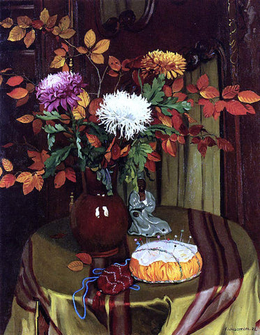 Felix Vallotton Chrysanthemums and Autumn Foliage - Hand Painted Oil Painting