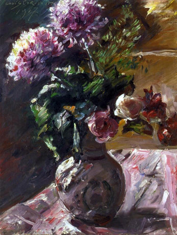 Lovis Corinth Chrysanthemums and Roses in a Jug - Hand Painted Oil Painting