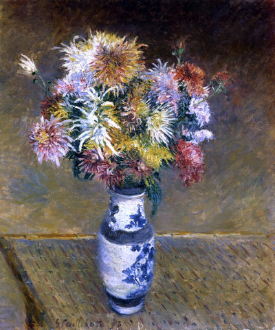 Gustave Caillebotte Chrysanthemums in a Vase - Hand Painted Oil Painting