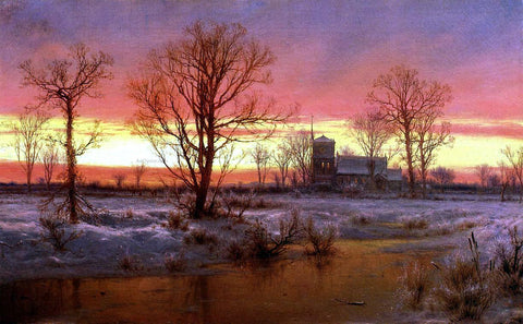Louis Remy Mignot Church at Dusk - Hand Painted Oil Painting