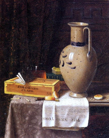 William Michael Harnett Cigar Box, Pitcher and 'New York World' - Hand Painted Oil Painting