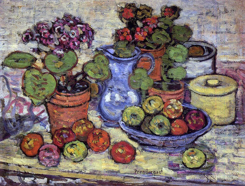 Maurice Prendergast Cinerarias and Fruit - Hand Painted Oil Painting