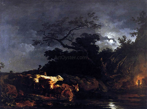 Philip Jacques De Loutherbourg Clair de Lune (Moonlight) - Hand Painted Oil Painting