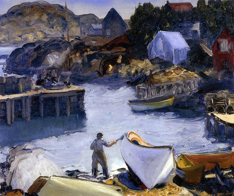 George Wesley Bellows Cleaning His Lobster Boat - Hand Painted Oil Painting