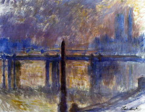Claude Oscar Monet Cleopatra's Needle and Charing Cross Bridge - Hand Painted Oil Painting