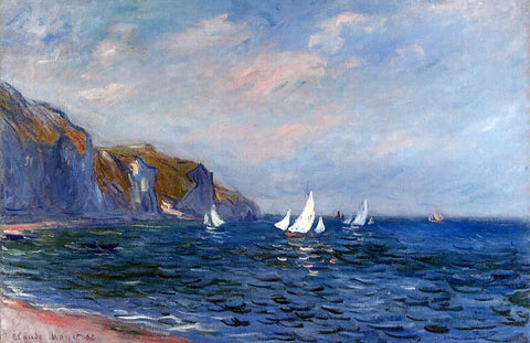 Claude Oscar Monet Cliffs and Sailboats at Pourville - Hand Painted Oil Painting