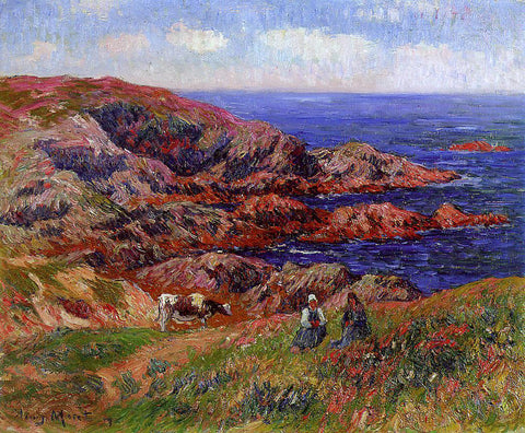 Henri Moret Cliffs at Kerserol, Finistere - Hand Painted Oil Painting