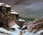 Gustave Courbet Cliffs by the Sea in the Snow - Hand Painted Oil Painting