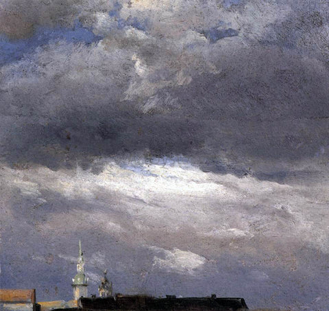 Johan Christian Claussen Dahl Cloud Study, Thunder Clouds over the Palace Tower at Dresden - Hand Painted Oil Painting