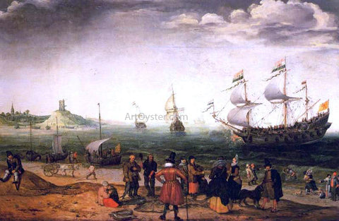 Adam Willaerts Coastal Landscape with Ships - Hand Painted Oil Painting
