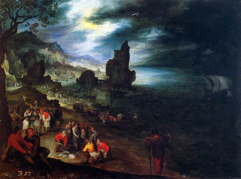 The Elder Jan Bruegel Coastal Landscape with the Sacrifice of Jonas - Hand Painted Oil Painting