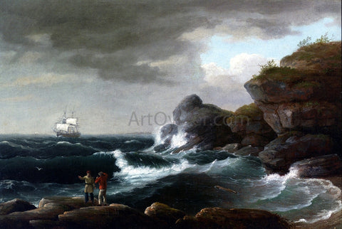 Thomas Birch Coastal Scene - Hand Painted Oil Painting