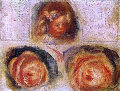 Pierre Auguste Renoir Coco and Roses (study) - Hand Painted Oil Painting