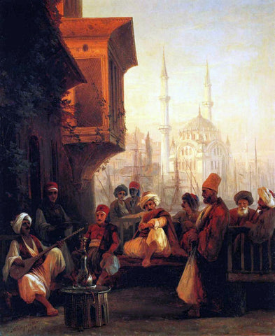 Ivan Constantinovich Aivazovsky Coffee-house by the Ortak Mosque in Constantinople - Hand Painted Oil Painting