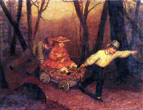 Enoch Wood Perry Collecting Autumn Leaves - Hand Painted Oil Painting