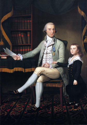Ralph Earl Colonel Benjamin Tallmadge and son William Talmadge - Hand Painted Oil Painting