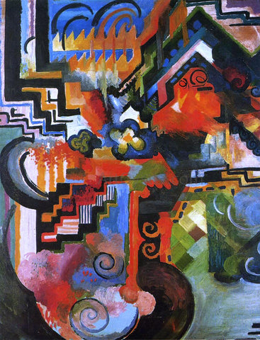August Macke Colored Composition (also known as Homage to Johann Sebastian Bach) - Hand Painted Oil Painting