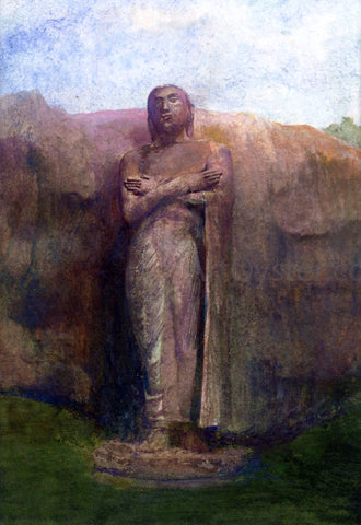 John La Farge Colossal Statue of Ananda, near the Ruined City of Pollanarua, Ceylon, 1891 - Hand Painted Oil Painting