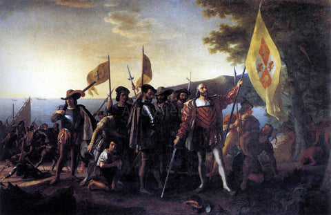 John Vanderlyn Columbus Landing at Guanahani, 1492 - Hand Painted Oil Painting