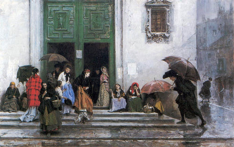 Raimundo de Madrazo Y Garreta Coming out of Church - Hand Painted Oil Painting
