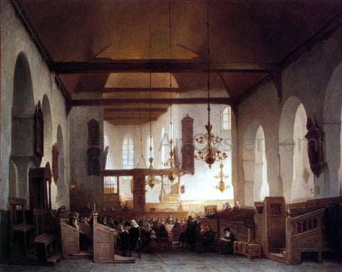 Johannes Bosboom Communion Service: Avondmaalsviering in the Geertekerk, Utrecht - Hand Painted Oil Painting