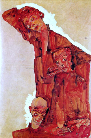 Egon Schiele Composition with Three Male Figures (also known as Self Portrait) - Hand Painted Oil Painting
