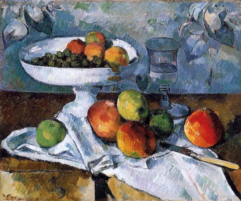 Paul Cezanne Compotier, Glass and Apples (also known as Still Life with Compotier) - Hand Painted Oil Painting