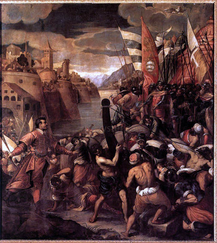 Antonio Vassilacchi Conquest of Tyre - Hand Painted Oil Painting