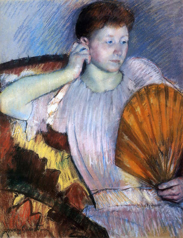 Mary Cassatt Contemplation (also known as Clarissa Turned Right with Her Hand to Her Ear) - Hand Painted Oil Painting