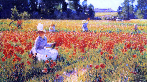 Robert Vonnoh Coquelicots (also known as In Flanders Field) - Hand Painted Oil Painting