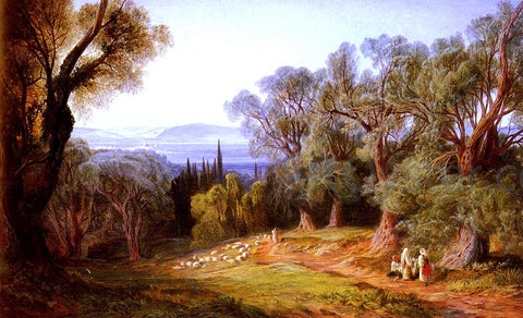 Edward Lear Corfu and the Albanian Mountains - Hand Painted Oil Painting