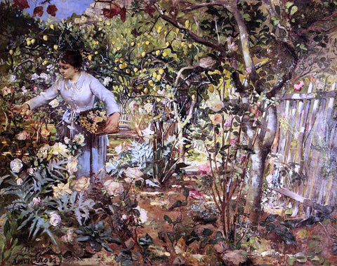 Henri Edmond Cross Corner of the Garden in Monaco - Hand Painted Oil Painting