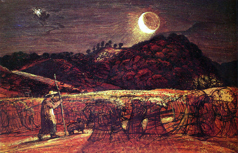 Samuel Palmer Cornfield By Moonlight - Hand Painted Oil Painting